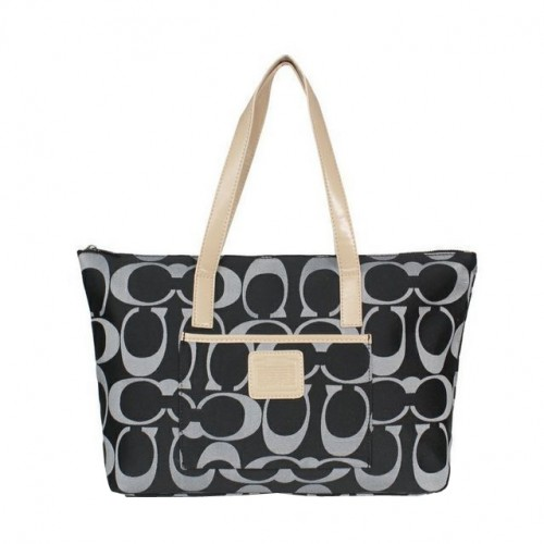 Coach Legacy Logo In Monogram Medium Black Totes BPY