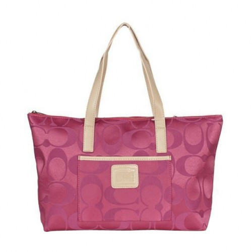 Coach Legacy Logo In Monogram Medium Fuchsia Totes BPZ