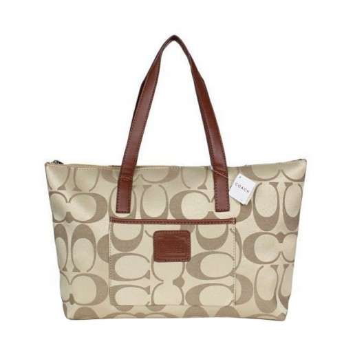 Coach Legacy Logo In Monogram Medium Khaki Totes BQA
