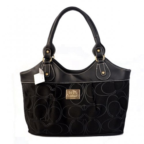 Coach Legacy Signature Medium Black Satchels BQC