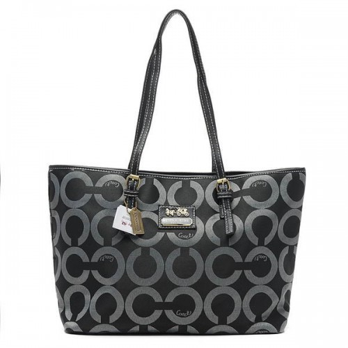 Coach Legacy Logo In Monogram Large Black Totes BQF