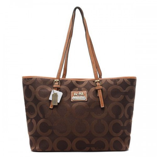Coach Legacy Logo In Monogram Large Coffee Totes BQG