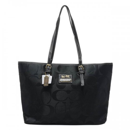 Coach Legacy Logo In Monogram Large Black Totes BQH