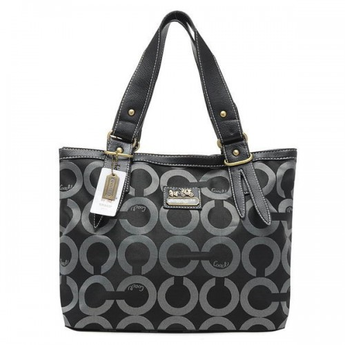 Coach Borough Logo In Signature Large Black Totes BQO