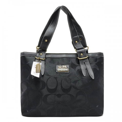 Coach Borough Logo In Signature Large Black Totes BQQ