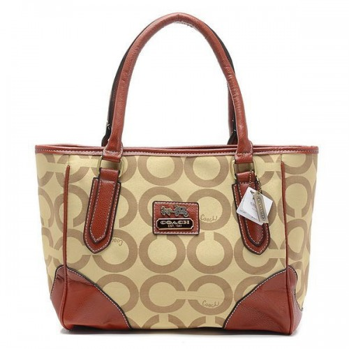 Coach Madison Logo In Signature Large Khaki Totes BQU