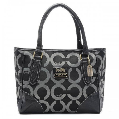 Coach Madison Logo In Signature Large Black Totes BQV