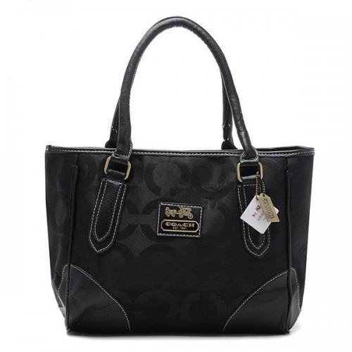 Coach Madison Logo In Signature Large Black Totes BQX