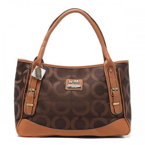 Coach Madison Buckle In Signature Large Coffee Satchels BQZ