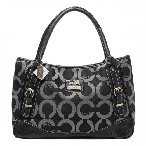 Coach Madison Buckle In Signature Large Black Satchels BRA