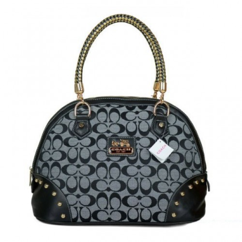 Coach Madison Stud In Monogram Medium Grey Satchels BRN