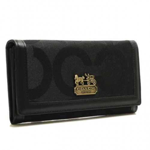 Coach Legacy Legacy Logo Signature Large Black Wallets BRT