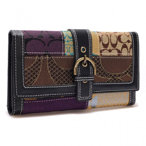 Coach Holiday Buckle In Signature Large Black Wallets BRY