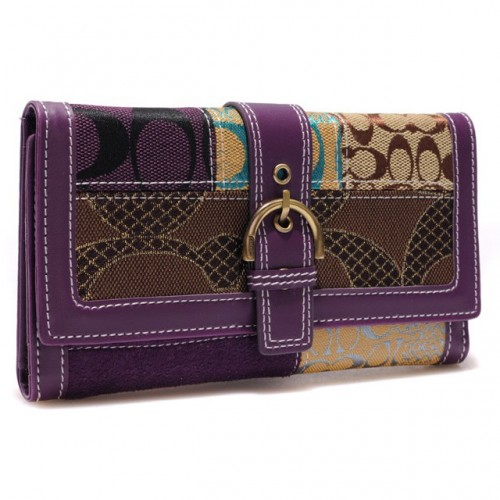 Coach Holiday Buckle In Signature Large Purple Wallets BSA