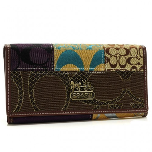 Coach Holiday Fashion Signature Large Coffee Wallets BSC