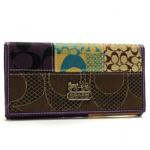 Coach Holiday Fashion Signature Large Purple Wallets BSE