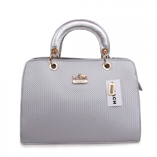 Coach Fashion Signature Medium Silver Satchels BSH