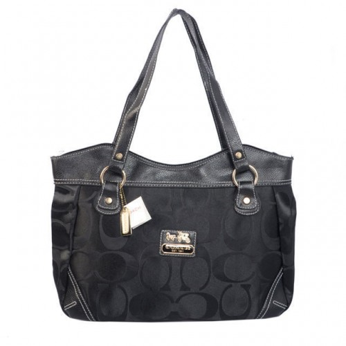 Coach Logo Signature Medium Black Totes BTL