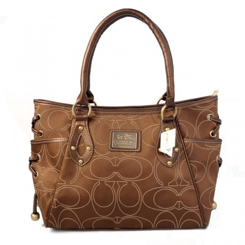 Coach String Logo Signature Medium Brown Totes BTO