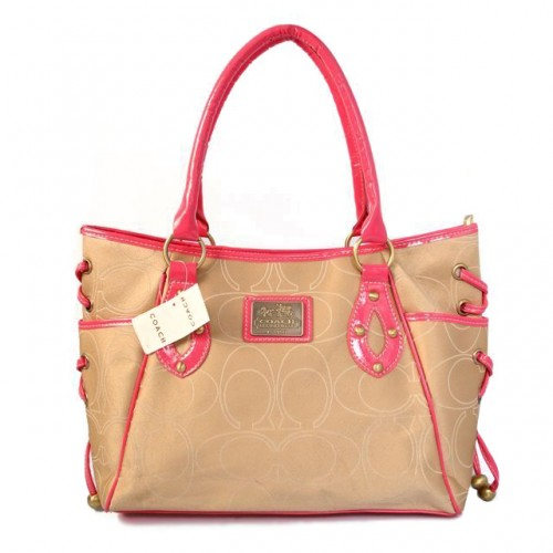 Coach String Logo Signature Medium Pink Totes BTP