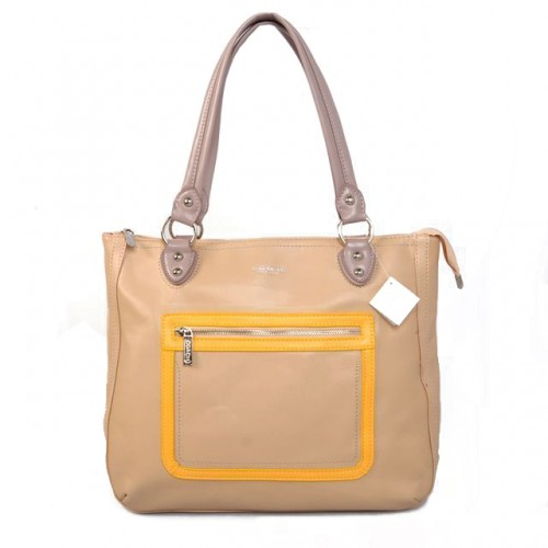 Coach Fashion Signature Medium Yellow Satchels BTS