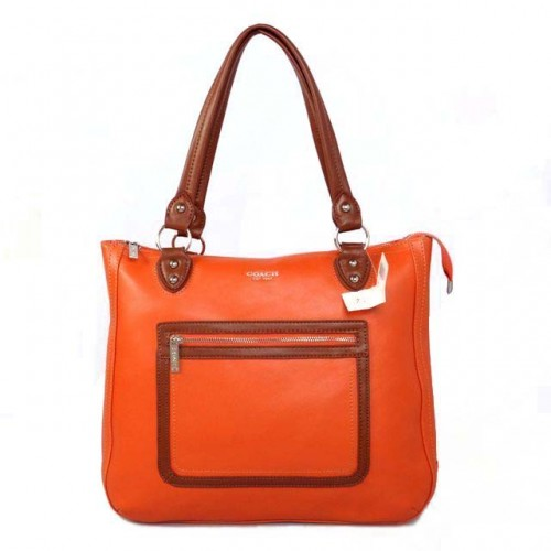 Coach Fashion Signature Medium Orange Satchels BTT