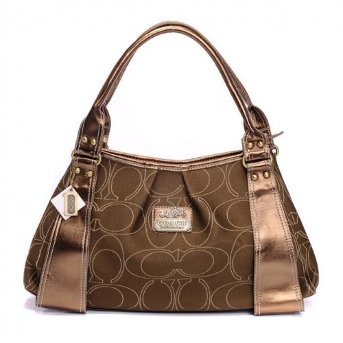 Coach Fashion Signature Large Brown Hobo BTV