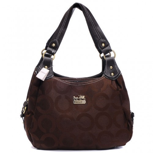 Coach Logo Signature Medium Coffee Hobo BTX