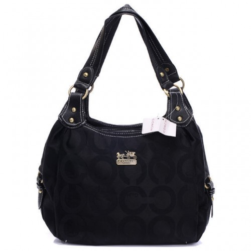 Coach Logo Signature Medium Black Hobo BTY