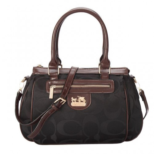 Coach Madison In Monogram Medium Black Satchels BUM