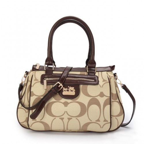Coach Madison In Monogram Medium Khaki Satchels BUN