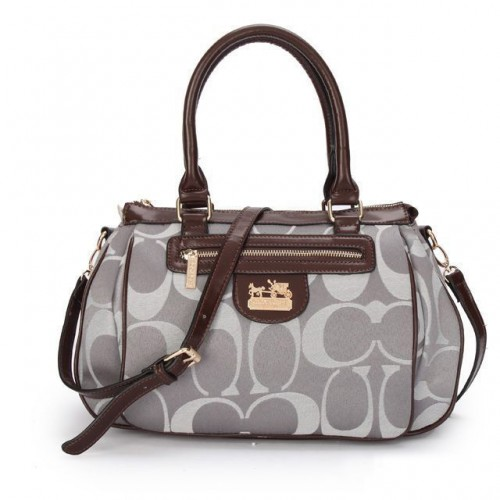 Coach Madison In Monogram Medium Grey Satchels BUO