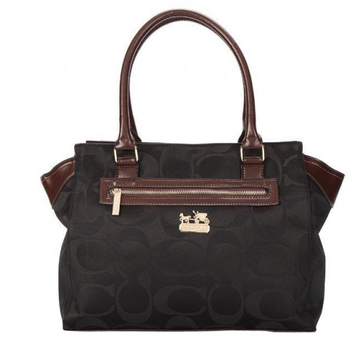 Coach Bleecker In Signature Medium Black Satchels BUR
