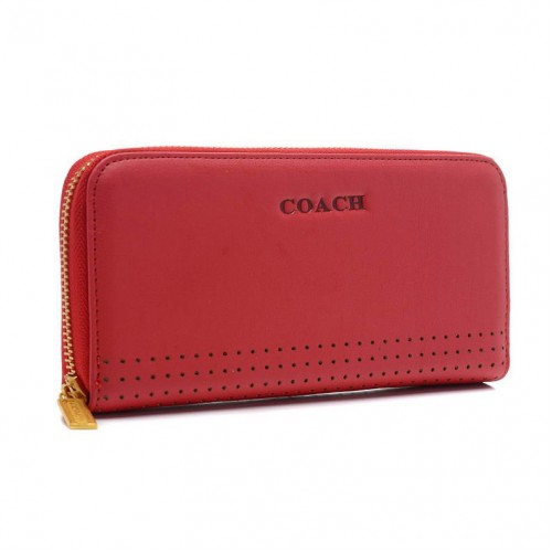 Coach Madison Perforated Large Red Wallets BVW