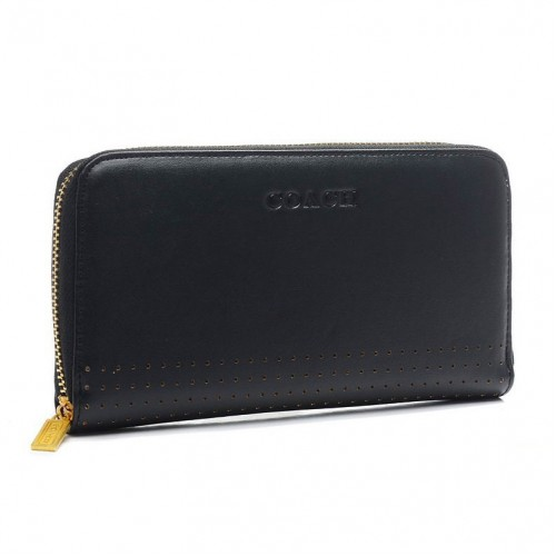 Coach Madison Perforated Large Black Wallets BWA