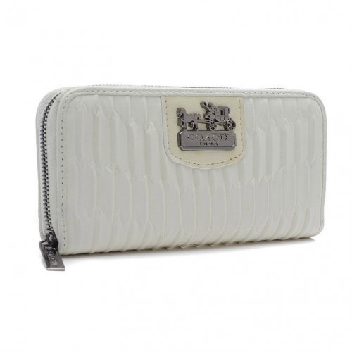 Coach Madison Gathered Large White Wallets BWB