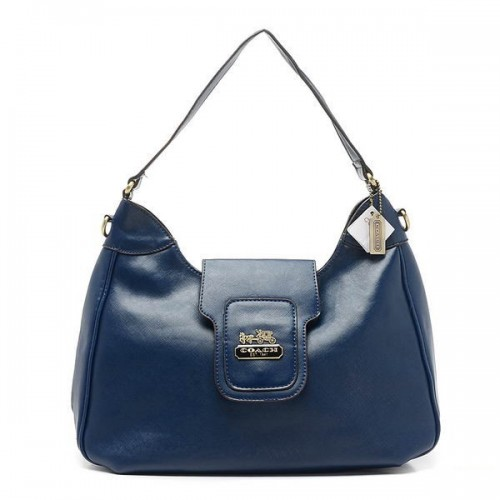 Coach Flap Logo Large Navy Hobo BWH