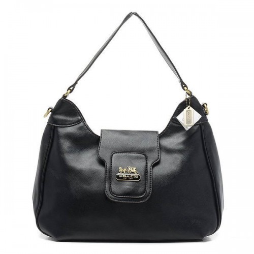 Coach Flap Logo Large Black Hobo BWI