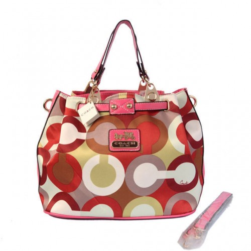 Coach In Monogram Medium Pink Satchels BWP
