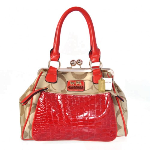 Coach Madison Pinnacle Carrie Medium Red Satchels BXB