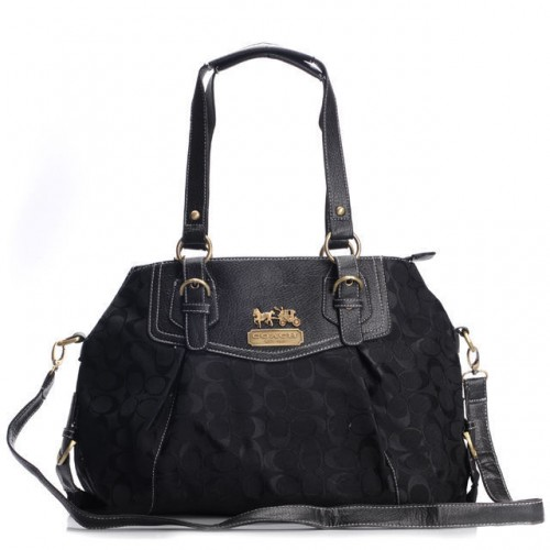 Coach Madison Madeline East West Large Black Satchels BXC