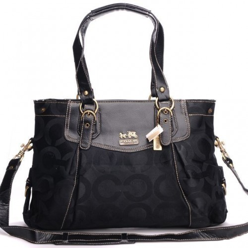 Coach Madeline East West Large Black Satchels BXL