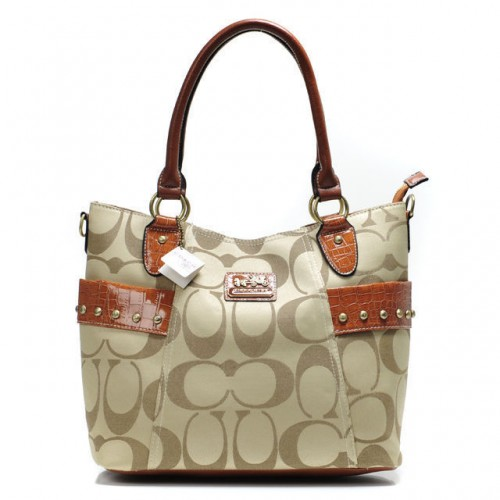Coach Stud In Signature Medium Khaki Totes BXV