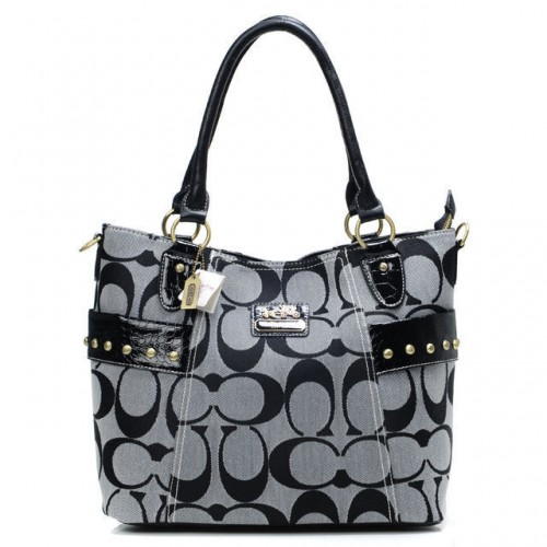 Coach Stud In Signature Medium Grey Totes BXX
