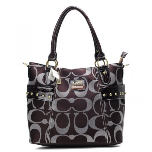 Coach Stud In Signature Medium Coffee Totes BXY