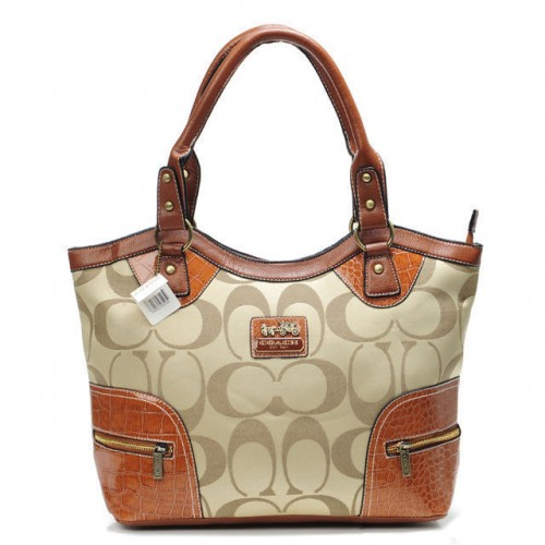 Coach Zip In Monogram Medium Khaki Satchels BYA