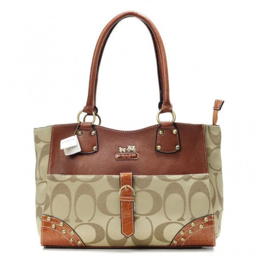 Coach Stud In Monogram Large Khaki Satchels BYD