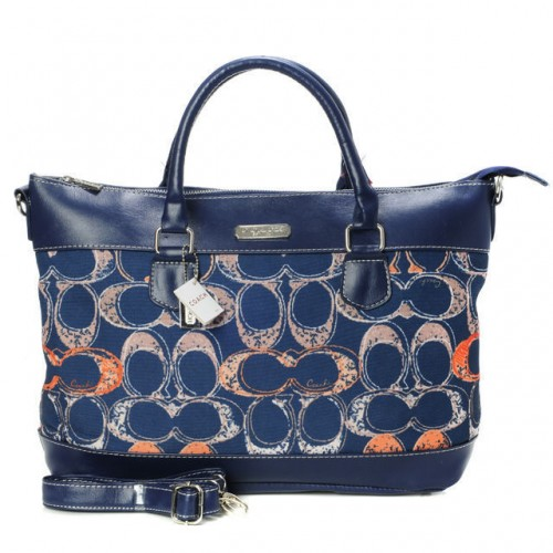 Coach Logo In Monogram Small Navy Totes BYF