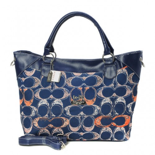 Coach Logo In Monogram Medium Navy Totes BYI