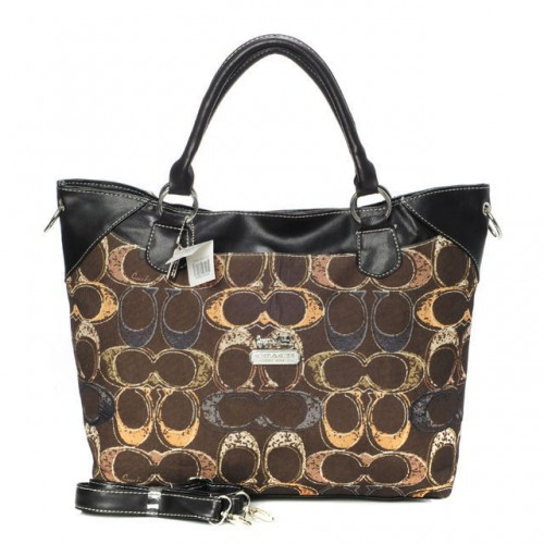 Coach Logo In Monogram Medium Coffee Totes BYJ